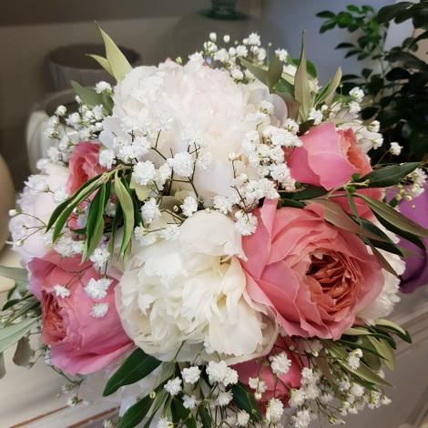 Poročni šopek belo-roza