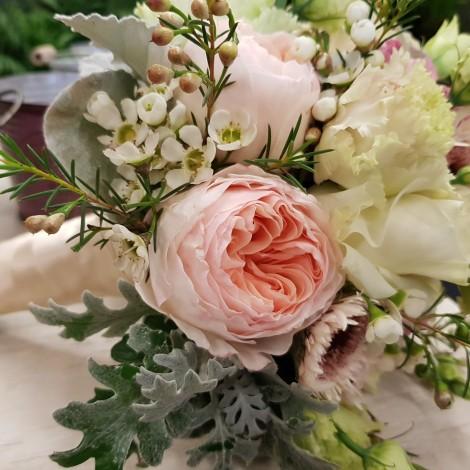 Poročni šopek belo-roza 2